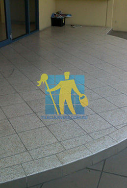 terrazzo tiles outdoor floor entrance curved dirty before cleaning Brisbane