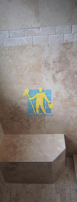 tiles floor wall bathroom natural stone shower with seat brisbane